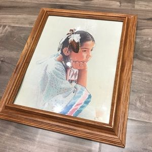 Young First Nations girl framed embroidery
